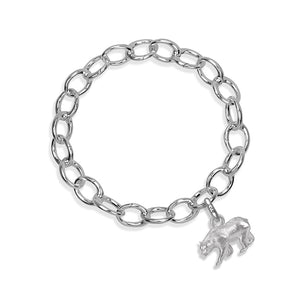 Monarch the Bear Sterling Silver Hinged Charm Bracelet