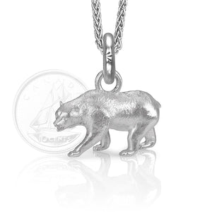 Monarch the Bear Charm, Silver with Wheat Chain