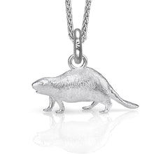 Al the Beaver Charm, Silver with Wheat Chain