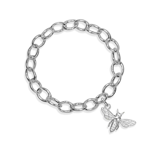 Tera the Honey Bee Sterling Silver Hinged Charm Bracelet