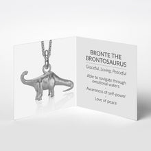 Bronte the Brontosaurus Charm, Silver with Wheat Chain