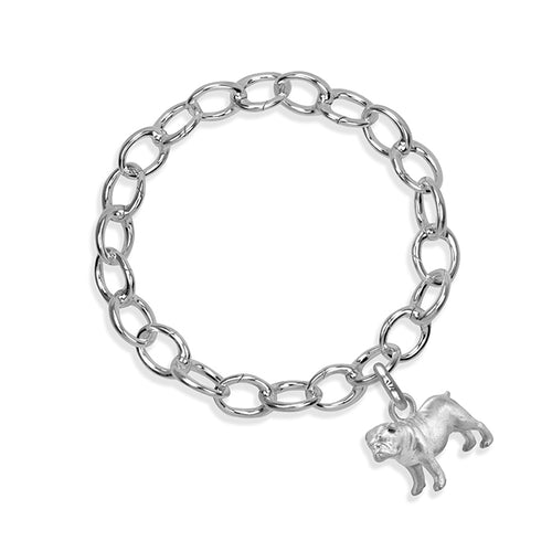 Eddie the Bulldog Sterling Silver Hinged Charm Bracelet