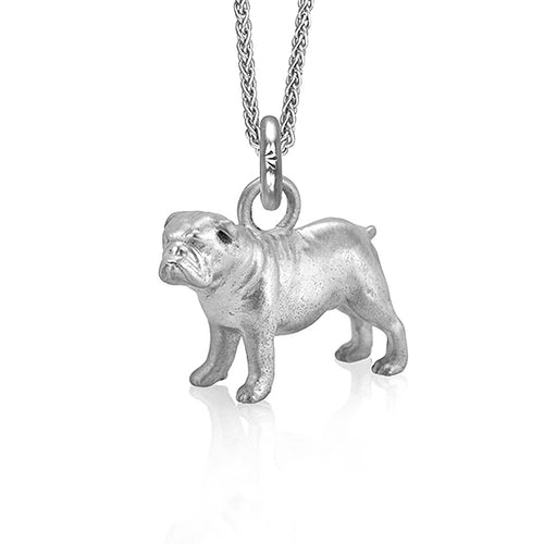 Eddie the Bulldog Charm, Silver with Wheat Chain