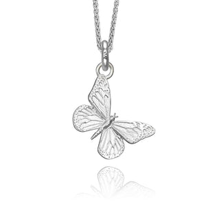 Kamama the Butterfly Charm, Silver with Wheat Chain
