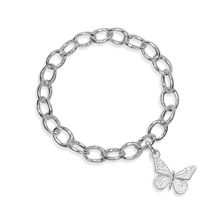 Kamama the Butterfly Sterling Silver Hinged Charm Bracelet