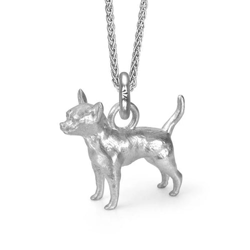 Oswaldo the Chihuahua Charm, Silver with Wheat Chain