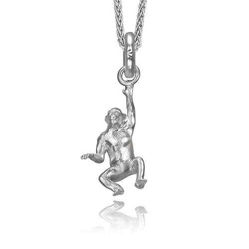 Mitch the Chimpanzee Charm, Silver with Wheat Chain