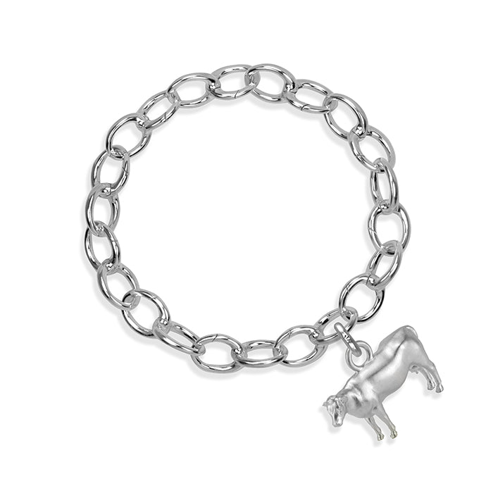 Daisy the Cow Sterling Silver Hinged Charm Bracelet
