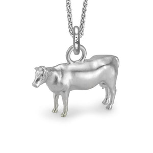Daisy the Cow Charm, Silver with Wheat Chain
