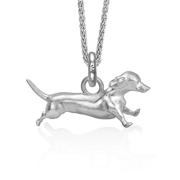 Archie the Dachshund Charm, Silver with Wheat Chain