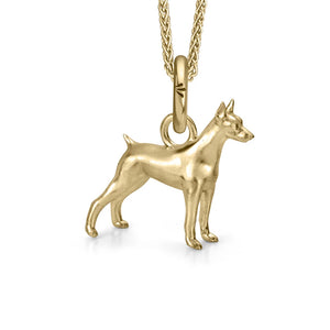 Dante the Doberman Charm, Yellow Gold