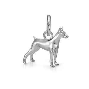 Dante the Doberman Charm, Silver