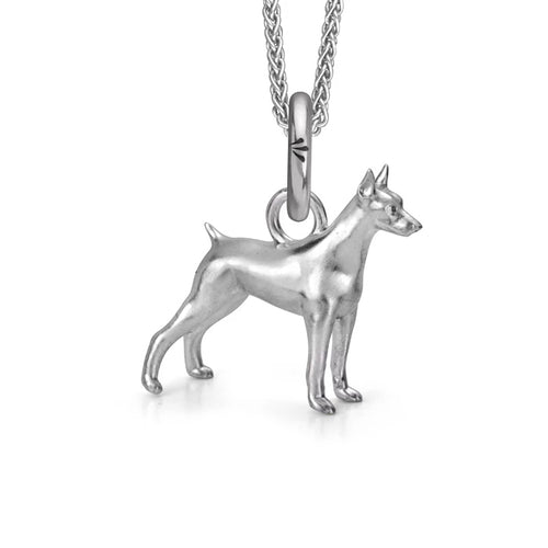 Dante the Doberman Charm, Silver with Wheat Chain