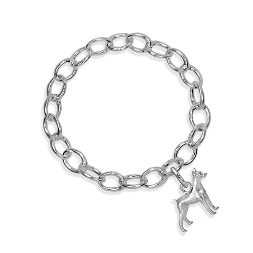 Dante the Doberman Sterling Silver Hinged Charm Bracelet