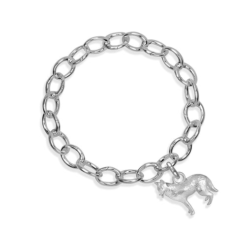 Rama the German Shepherd Sterling Silver Hinged Charm Bracelet