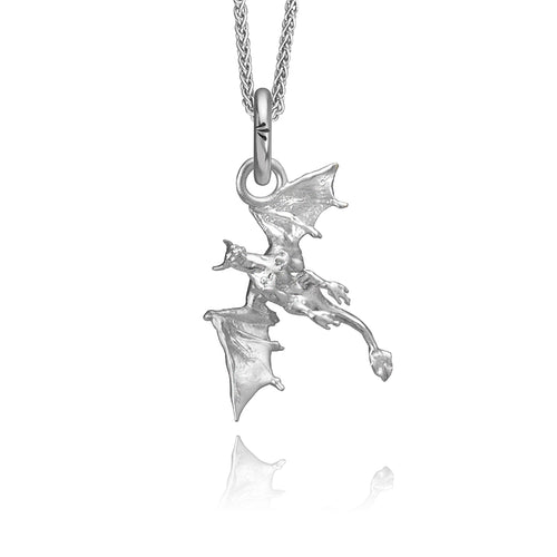 Vyeghal the Dragon Charm, Silver with Wheat Chain