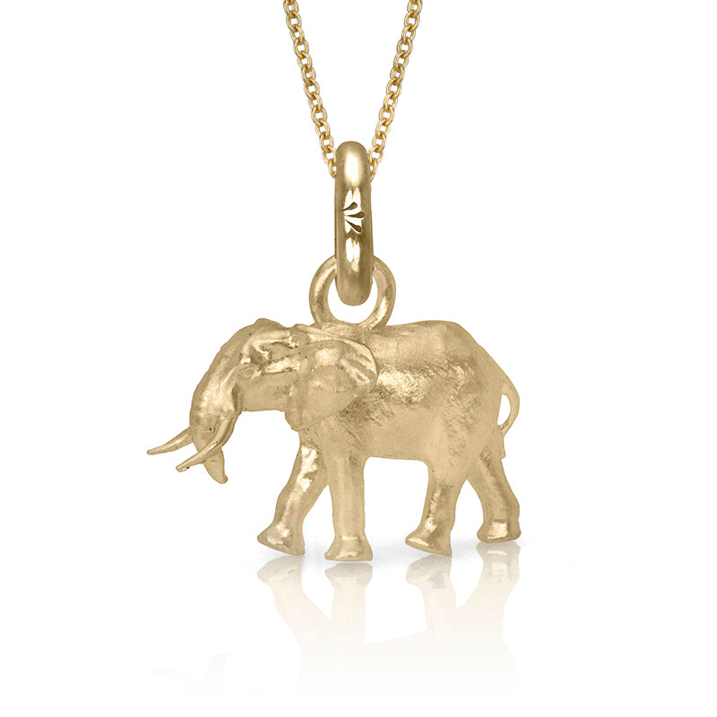 Thula the Elephant Charm, Yellow Gold