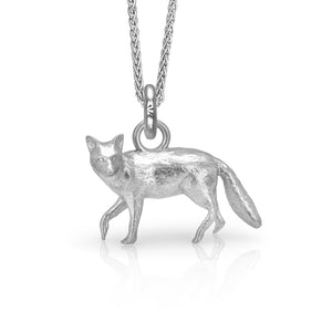 Lady Coddington the Fox Charm, Silver with Wheat Chain