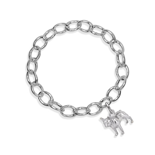 Rockie the Frenchie Sterling Silver Hinged Charm Bracelet