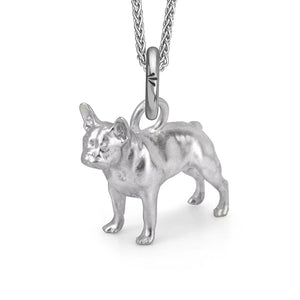 Rockie the Frenchie Charm, Silver with Wheat Chain