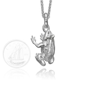 Farnum the Frog Charm, Silver with Wheat Chain