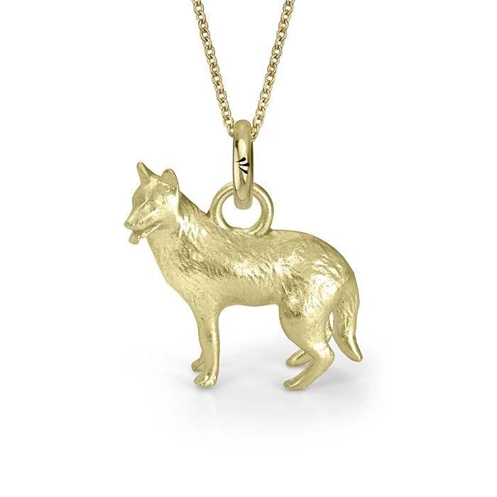 Rama the German Shepherd Charm, Yellow Gold