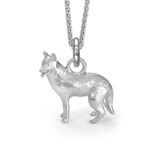 Rama the German Shepherd Charm, Silver with Wheat Chain