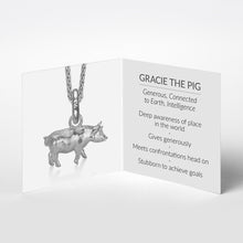 Gracie the Pig Charm, Silver with Wheat Chain