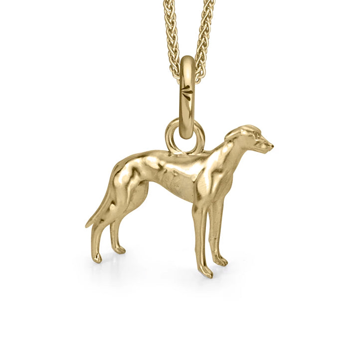 Cluney the Greyhound Charm, Yellow Gold