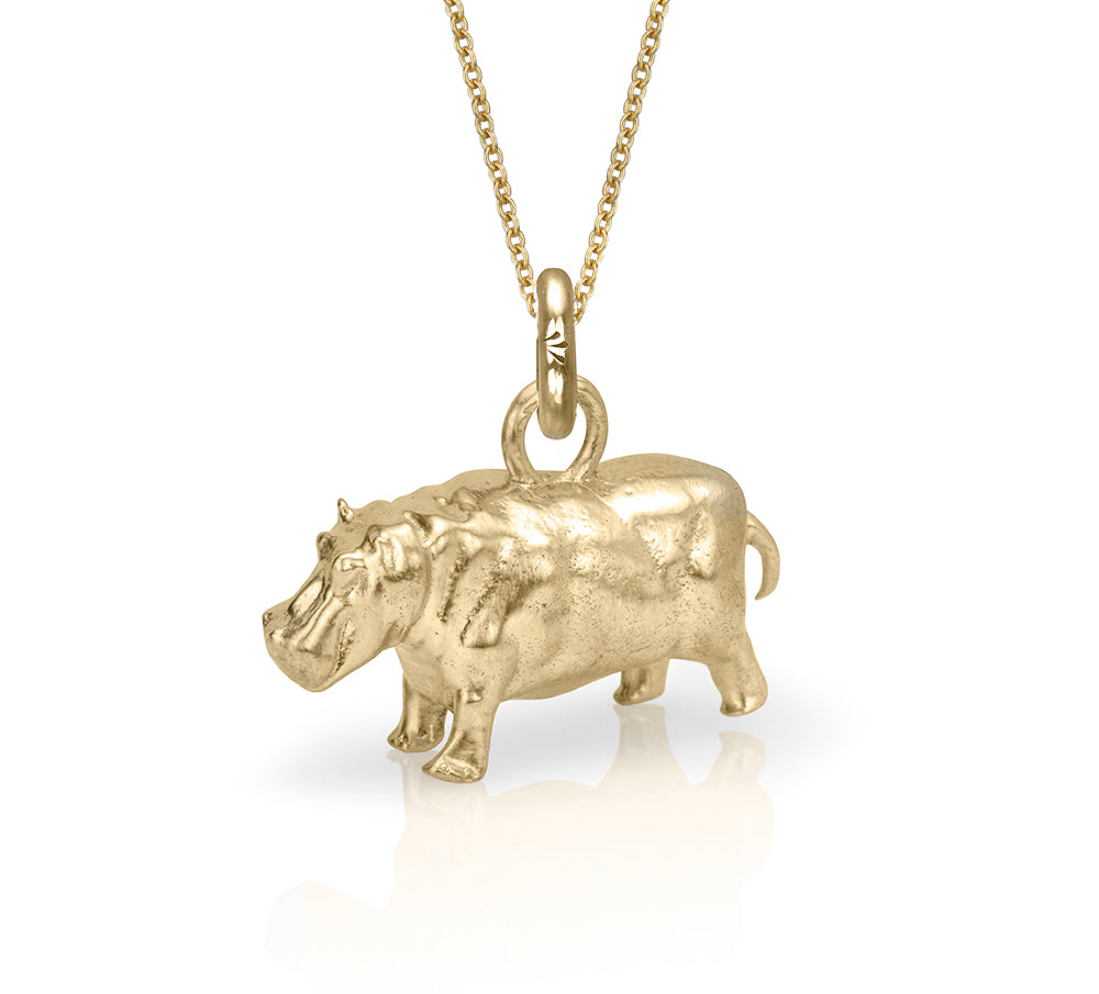 Hughie the Hippo Charm, Yellow Gold