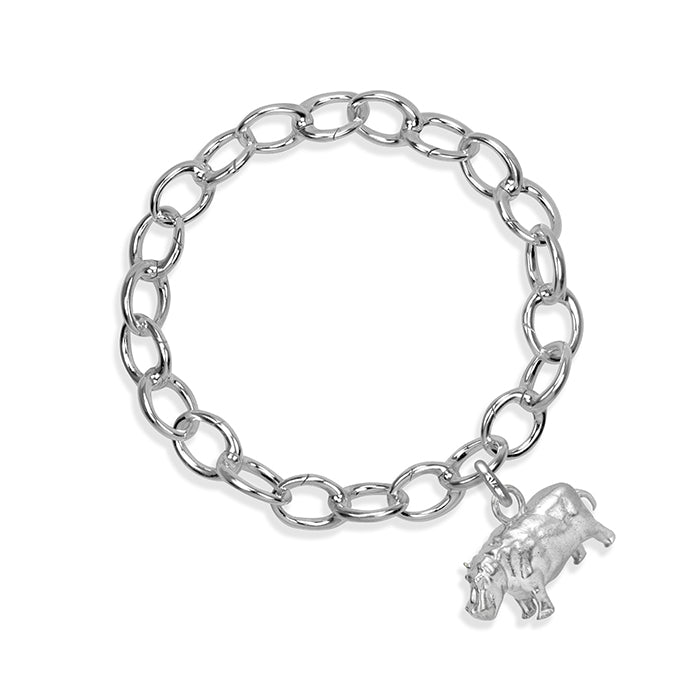 Hughie the Hippo Sterling Silver Hinged Charm Bracelet