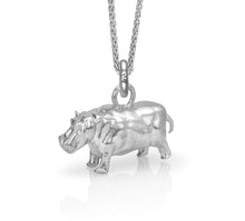 Hughie the Hippo Charm, Silver with Wheat Chain