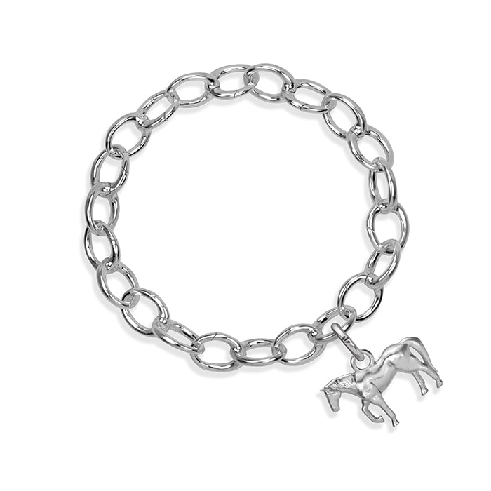 Chico the Horse Sterling Silver Hinged Charm Bracelet