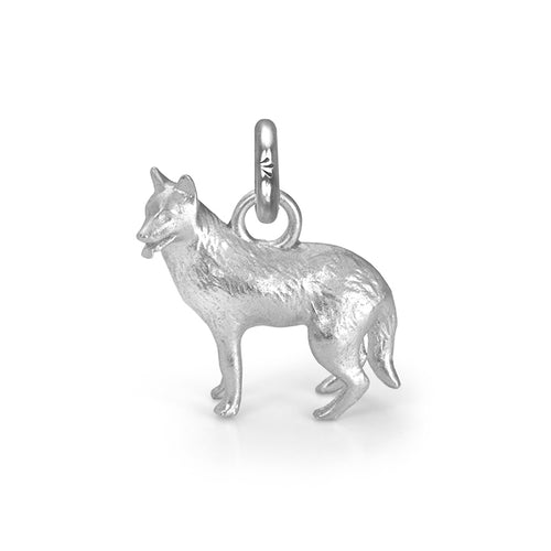 Rama the German Shepherd Charm, Silver