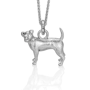 Charlie the Jack Russell Charm, Silver with Wheat Chain