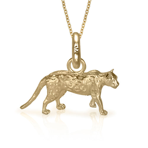 Asha the Leopard Charm, Yellow Gold