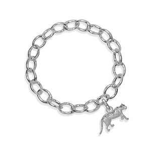 Asha the Leopard Sterling Silver Hinged Charm Bracelet