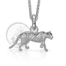 Asha the Leopard Charm, Silver with Wheat Chain