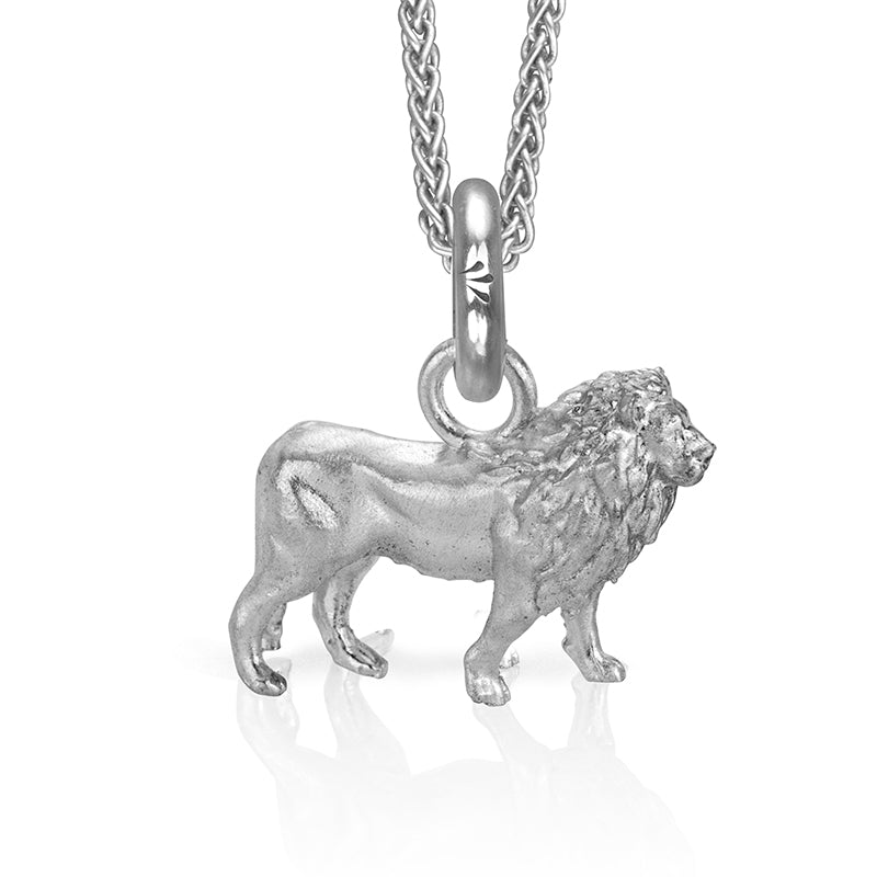 Cecil the Lion Charm, Silver with Wheat Chain