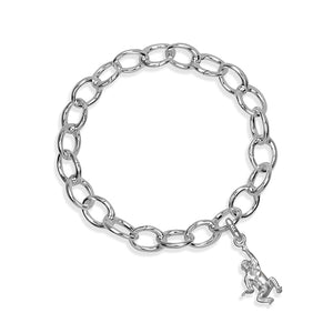 Mitch the Chimpanzee Sterling Silver Hinged Charm Bracelet