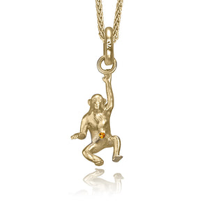 Copy of Mitch the Chimpanzee Charm, Yellow Gold