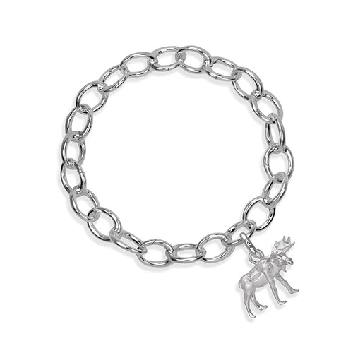 MaplePie the Moose Sterling Silver Hinged Charm Bracelet