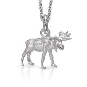 MaplePie the Moose Charm, Silver with Wheat Chain
