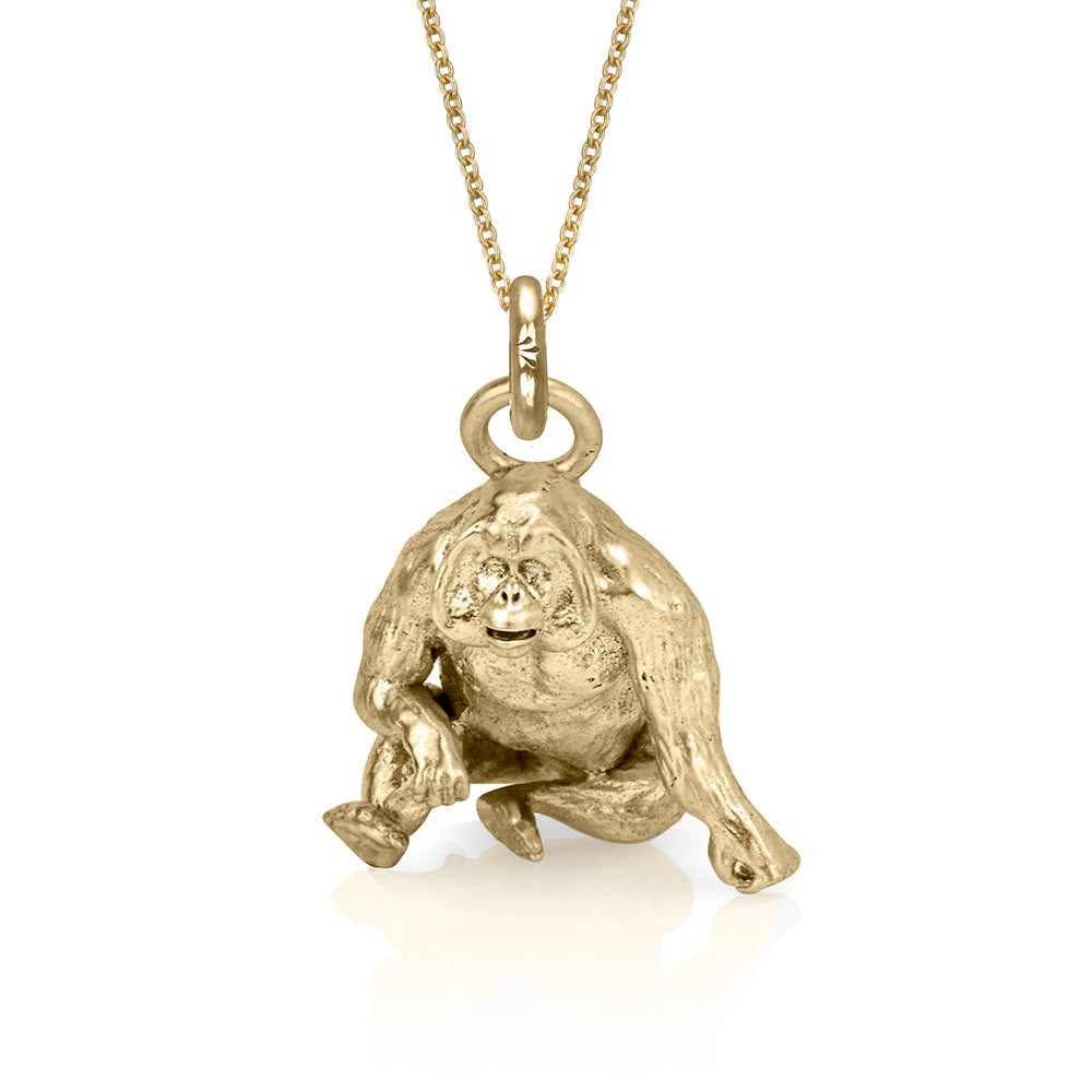 Copy of Higgins the Orangutan Charm, Yellow Gold