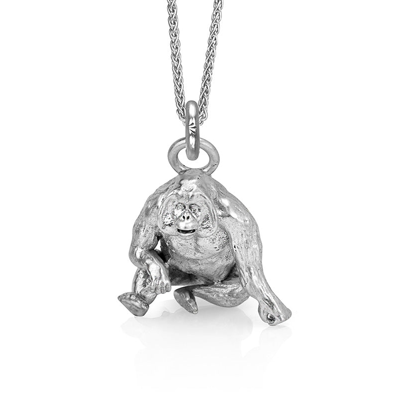 Higgins the Orangutan Charm, Silver with Wheat Chain