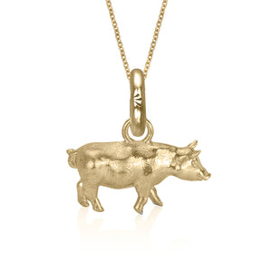Gracie the Pig Charm, Yellow Gold