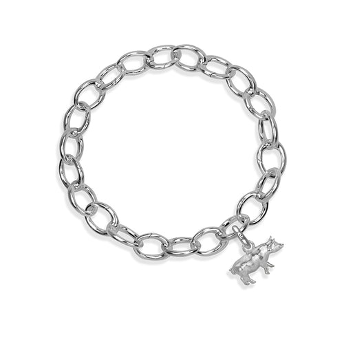 Gracie the Pig Sterling Silver Hinged Charm Bracelet