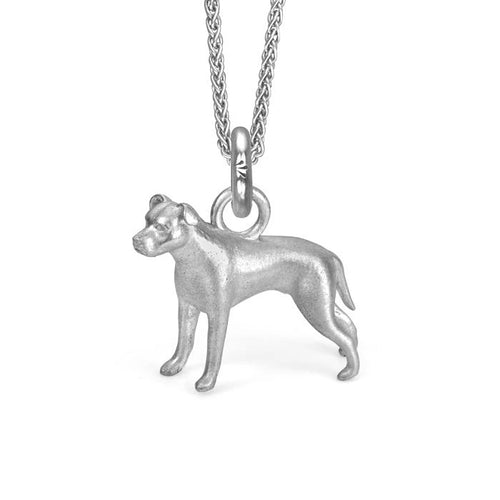 Nala the Pit Bull Charm, Silver with Wheat Chain