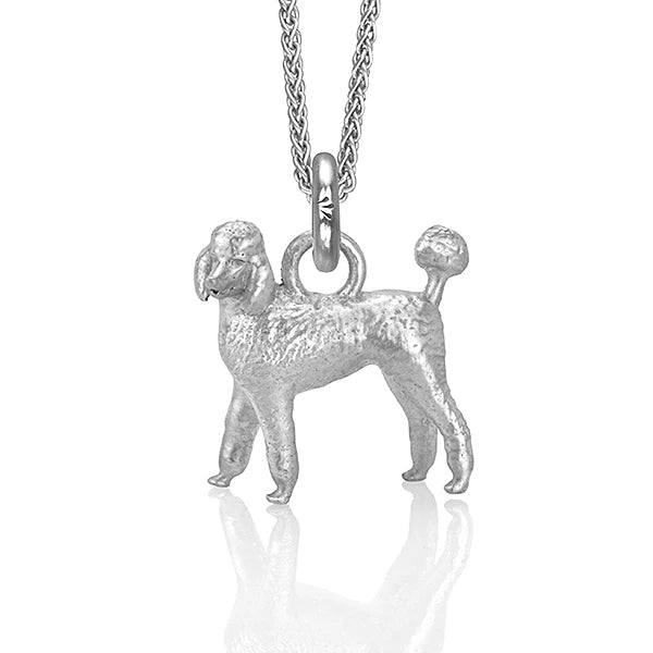 Emma Grace the Poodle Charm, Silver with Wheat Chain