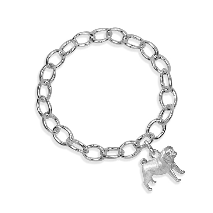 Cleo the Pug Sterling Silver Hinged Charm Bracelet